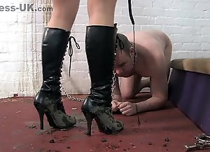 Clean the filth from Her boots!