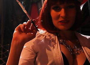 Mistress Lola Joins Domiantrix Annabelle to torment hobson locked in the cage with smoke