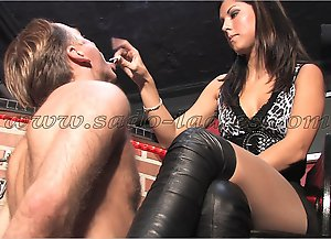 Young Mistress abuses a barkeeper as human ashtray.