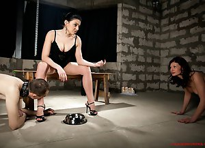 Chic sexy Mistress humiliates a young couple in every way including pissing