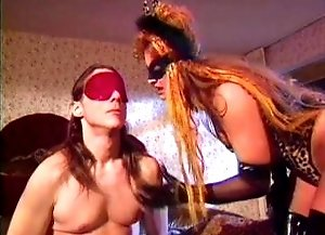 He's blind folded and made to fuck his mistress us the ass!