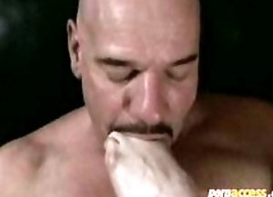 Bald guy gets fucked up the ass by dom