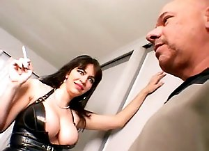 busty brunette dominatrix and horny man strapon sex