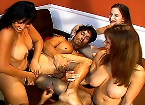 Five amateur brunettes with strapon dildos drill guy's ass hole while he sucks strapons