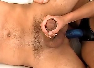 Skinny blond milf makes a younger guy to suck her strapon dildo then drills his tight butt hole