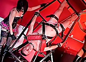 Two kinky mistresses strap their slave to a special inversion frame and punish his cock and balls with no mercy