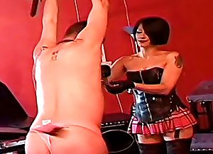 Busty domme and her younger assistant cuff, stretch and paddle mature male slave for stealing and wearing pink panties