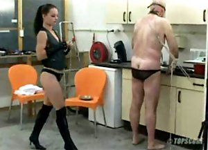 Slave getting humiliated by a very pretty mistress
