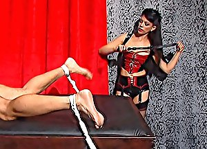 3 femdom videos with sexy mistress whipping and spanking her tied slave's ass and enjoying his painful sufferings