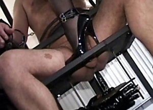 Slave bound to the fuck chair