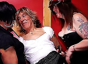 After being blowjobbed so well, naughty mature crossdresser obediently bends over and gets ass spanked