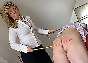 This man didn't show his domme due respect and now his fat ass will get spanked and caned red till he learns his lesson