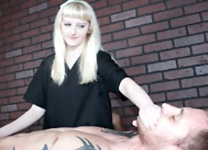 Blonde babe ties his big-sized boner and dominates him while jerking him off