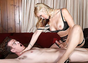 Dominant Sarah ties him and strokes his cock to the edge and ruins his orgasm.